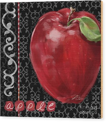 Apple On Black And White Wood Print by Shari Warren