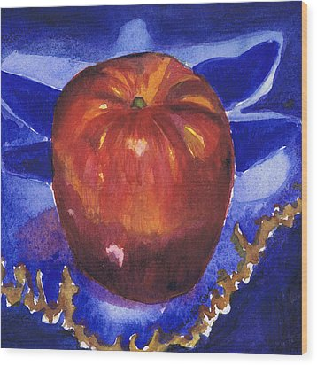 Wood Print featuring the painting Apple On Blue Tile by Susan Herbst
