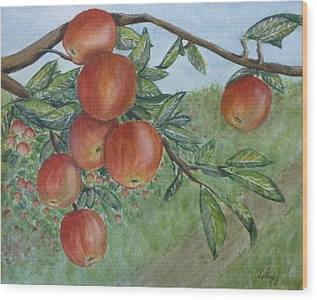 Wood Print featuring the painting Apple Orchard by Kelly Mills