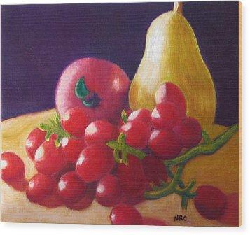 Apple Pear Grapes Wood Print