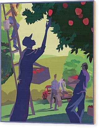 Apple Pickers Wood Print