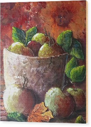 Wood Print featuring the painting Apple Picking Time by Megan Walsh