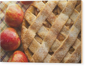 Apple Pie With Lattice Crust Wood Print by Diane Diederich