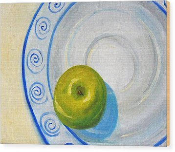 Apple Plate Wood Print by Nancy Merkle