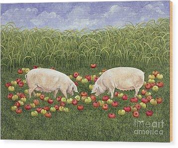 Apple Sows Wood Print by Ditz