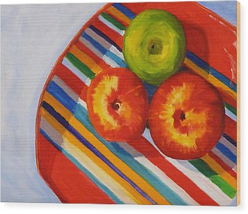 Apple Stripe Wood Print by Nancy Merkle