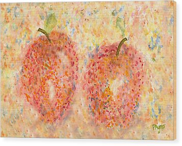 Wood Print featuring the painting Apple Twins by Paula Ayers