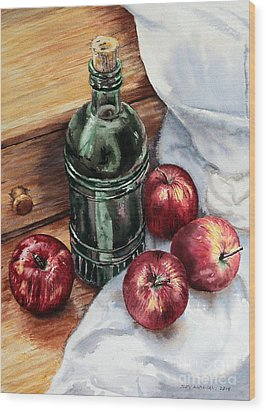 Wood Print featuring the painting Apples And A Bottle Of Liqueur by Joey Agbayani