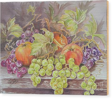 Apples And Grapes Wood Print by Summer Celeste