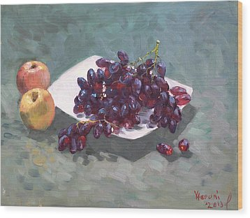Apples And Grapes Wood Print by Ylli Haruni