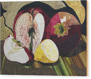 Apples And Lemon Wood Print by Lynda K Boardman