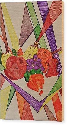 Wood Print featuring the drawing Apples And Oranges by Celeste Manning