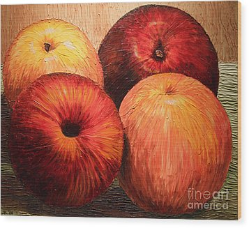 Apples And Oranges Wood Print by Joey Agbayani