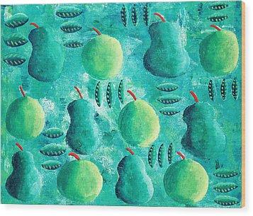 Apples And Pears Wood Print by Julie Nicholls