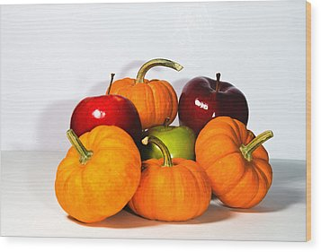 Apples And Pumpkins2 Wood Print by Cecil Fuselier