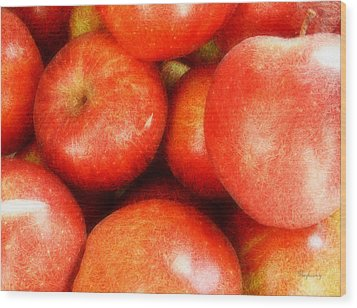 Apples Wood Print by Cynthia Lassiter