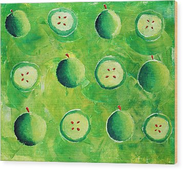 Apples In Halves Wood Print by Julie Nicholls