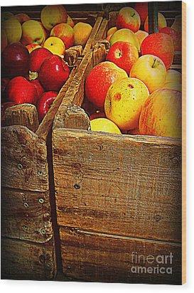 Apples In Old Bin Wood Print by Miriam Danar