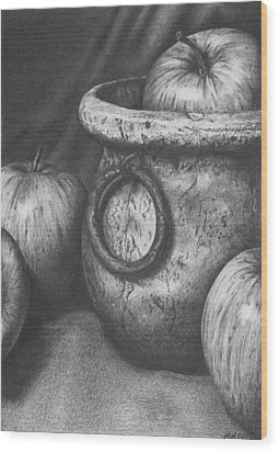 Apples In Stoneware Wood Print by Michelle Harrington