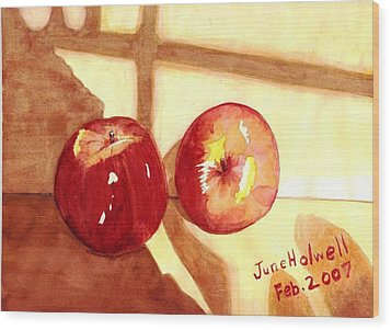 Apples Wood Print by June Holwell