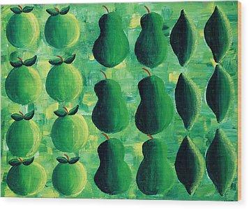 Apples Pears And Limes Wood Print by Julie Nicholls