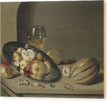 Apples Pears Peaches And Walnuts Wood Print by Ambrosius Bosschaert the Younger