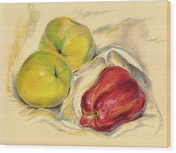 Wood Print featuring the pastel Apples - Yellow And Red by MM Anderson