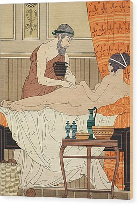 Application Of White Egyptian Perfume To The Hip Wood Print by Joseph Kuhn-Regnier