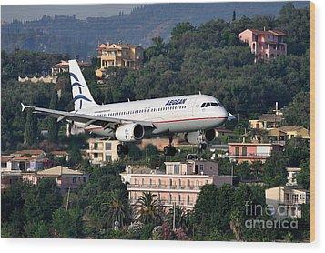 Approaching Corfu Airport Wood Print