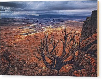 Approaching Storm Wood Print by Priscilla Burgers