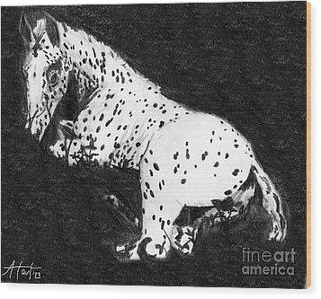 Appy Foal In Clover Wood Print