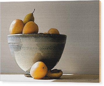 Apricot Bowl  Wood Print by Cole Black