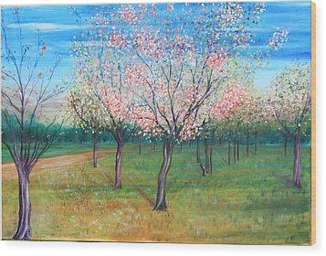 Apricot Orchard Wood Print