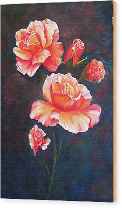 Wood Print featuring the painting Apricot Rose by Renate Voigt