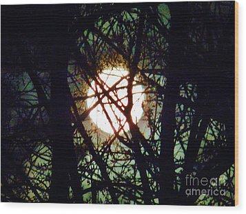 April 3 Am Moon Wood Print by Judy Via-Wolff