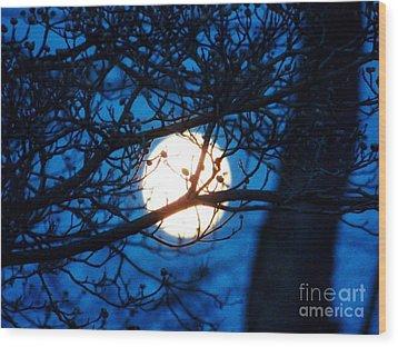 April Morning Moon Wood Print by Judy Via-Wolff