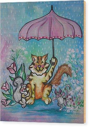 April Showers Wood Print by Leslie Manley