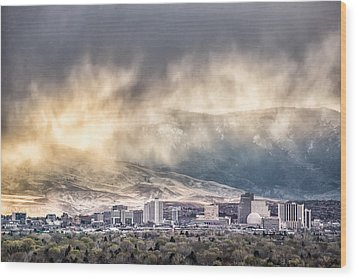 April Showers Over Reno Wood Print