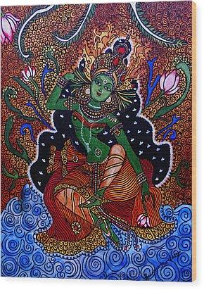 Wood Print featuring the painting Apsara by Saranya Haridasan