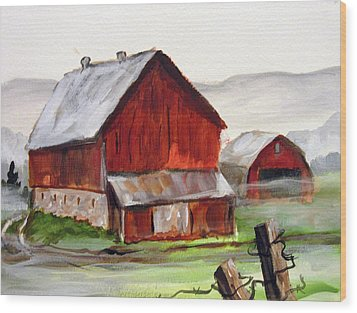 Wood Print featuring the painting Apulia Farm Barn by Carol Hart