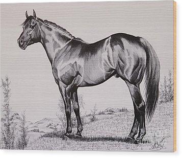 Aqha Stallion Driftwood Wood Print
