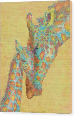 Aqua And Orange Giraffes Wood Print by Jane Schnetlage