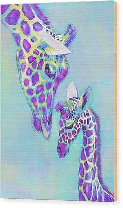 Aqua And Purple Loving Giraffes Wood Print