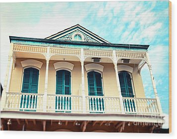 Wood Print featuring the photograph Aqua And Yellow House by Sylvia Cook
