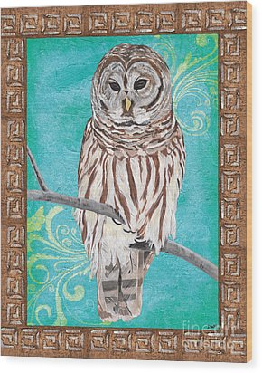 Aqua Barred Owl Wood Print by Debbie DeWitt