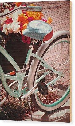 Aqua Bicycle Wood Print by Valerie Reeves