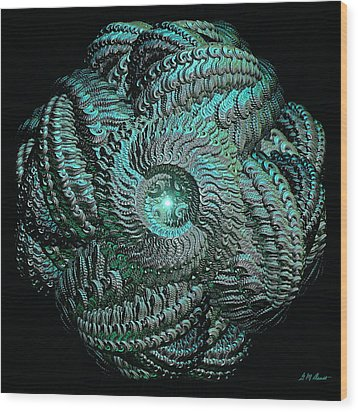 Aqua Celtic Mandala Wood Print by Michael Durst