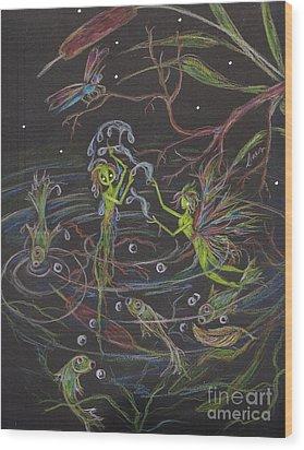 Aqua Wood Print by Dawn Fairies