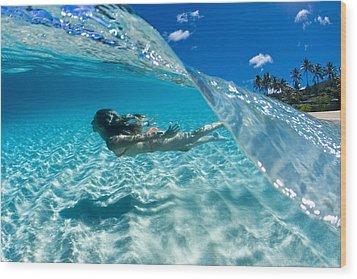 Aqua Dive Wood Print by Sean Davey