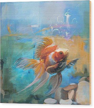 Aqua Gold Wood Print by Catf